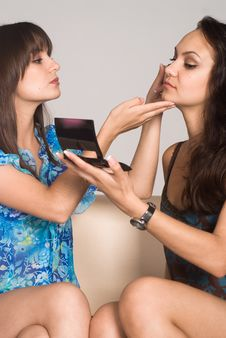 Free Two Girls Making Up Stock Image - 21047661