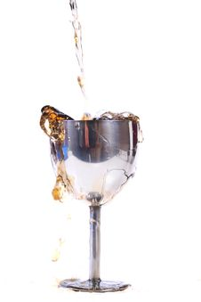 Free Pouring Drink In Metal Glass Royalty Free Stock Photos - 21047678