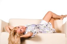 Free Girl At Sofa Royalty Free Stock Photo - 21047775