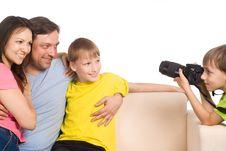 Kid With Camera Royalty Free Stock Photo