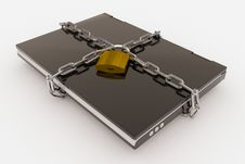 Free Padlock, Chain And Laptop Royalty Free Stock Photos - 21049978