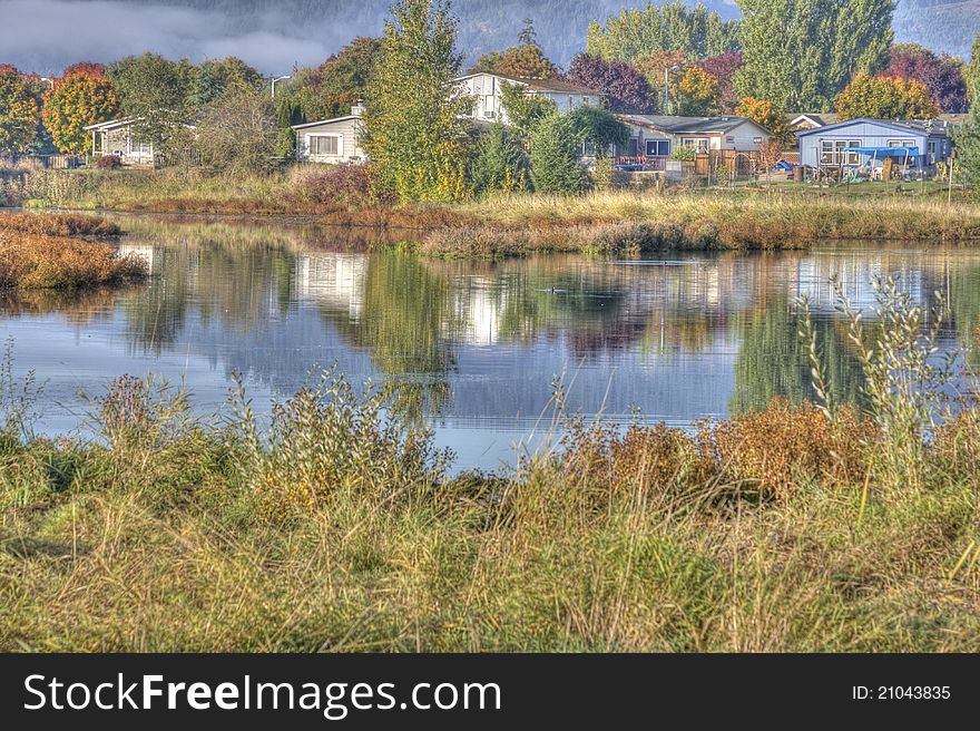 Country pond in HDR