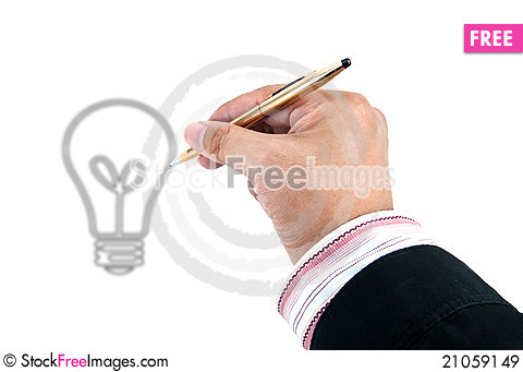 Free Hand Drawing Light Bulb Royalty Free Stock Images - 21059149
