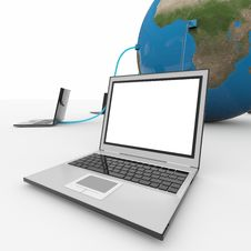 Free Laptops Connected To The Earth Sphere. Stock Photo - 21050010
