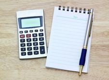 Free Notebook, Silver Ballpen And Calculator Stock Photo - 21051140
