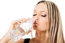 Free Young Beautiful Woman Drinking Water Stock Image - 21052041
