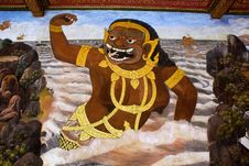 Free Thai Style Painting About Ramayana Story Royalty Free Stock Images - 21052229
