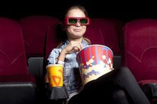 Free Woman At The Cinema Royalty Free Stock Images - 21053049