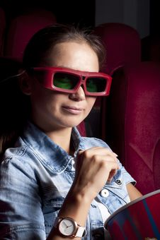 Woman At The Cinema Royalty Free Stock Photo