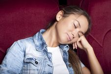 Free Woman Sleep In The Cinema Stock Photo - 21053800