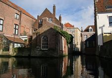 Reflected Bruges Houses, Canal View Royalty Free Stock Photos