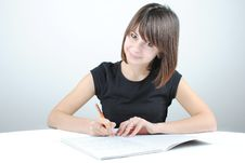 Free Girl Student Writes Royalty Free Stock Image - 21054256