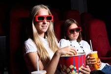 Free Two Young Girls Watching In Cinema Royalty Free Stock Images - 21055599