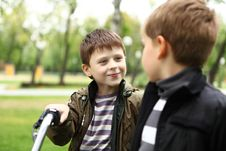 Free Boy On A Bicycle In The Green Park Stock Photos - 21055633