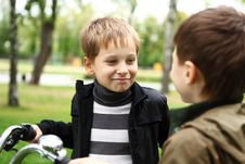 Free Boy On A Bicycle In The Green Park Royalty Free Stock Image - 21055636