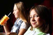 Free Two Young Girls Watching In Cinema Stock Photos - 21055643