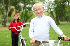 Free Boy On A Bicycle In The Green Park Stock Photography - 21055682