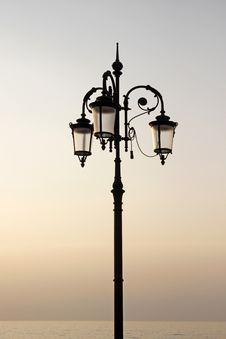 Lantern At The Promenade, Lake Garda, Italyl Royalty Free Stock Photography