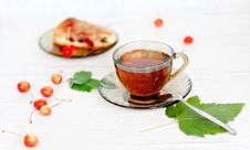 Free Herbal Tea And Biscuit Cake Royalty Free Stock Photography - 21056457