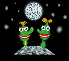 Free Green Drops The Boy And Girl Dancing Royalty Free Stock Photos - 21058388
