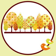 Free Abstract Autumn Tree Greeting Card Stock Image - 21058881