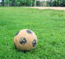 Classic Soccer Ball On Green Grass Stock Images