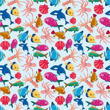 Free Cartoon Fish Seamless Pattern Royalty Free Stock Image - 21059146