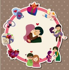 Free Cartoon Love Card Stock Image - 21059151