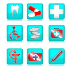 Free Blue Medical Icons Royalty Free Stock Photography - 21059507