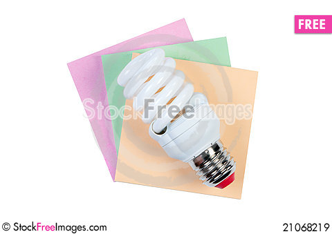 Free Energy Saving Lamp And Color Stickers. Royalty Free Stock Images - 21068219