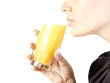 Free Young Woman With A Glass Of Juice Royalty Free Stock Image - 21060576