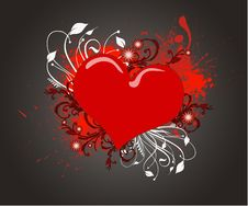 Free Red  Heart On The Grunge Background Stock Images - 21061014