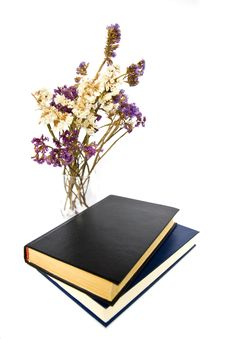 Free Dried Flowers And Books Royalty Free Stock Photography - 21061097