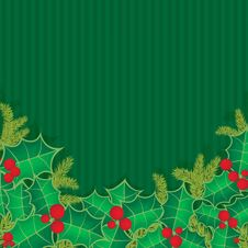 Free Christmas Background With Holly Berry Leaves Royalty Free Stock Photography - 21061587