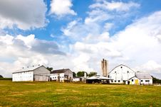 Free Farm House With Field And Silo Royalty Free Stock Photography - 21061757