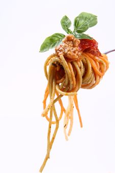 Spaghetti Bolognese On A Fork Stock Photo