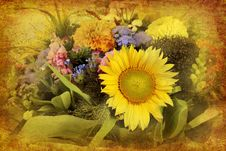 Free Arrangement Of Mixed Flowers In Retro Style Stock Images - 21062974