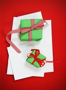 Christmas Cards With Christmas Presents Stock Photography