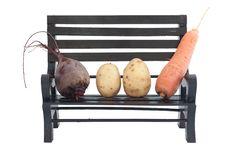 Vegetables On A Bench Stock Photos