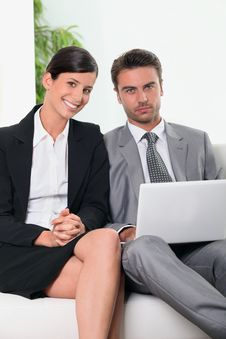 Free Business Team In Front Of A Laptop Computer Royalty Free Stock Image - 21065426