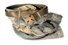 Free Blue Jeans With Old Black Leather Strap Royalty Free Stock Images - 21065599