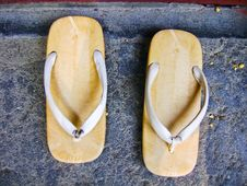 Sandal With A Thick Sole Of Wood Royalty Free Stock Photos