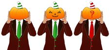 Men With Pumpkin Heads Royalty Free Stock Photography