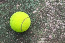 Old Tenins Ball On Dirty Floor Stock Image