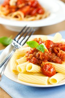 Free Pasta With Tomato Sauce And Basil Stock Image - 21067671