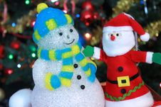Santa Claus And Snowman Decorations Stock Images