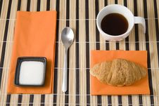 Free Breakfast With Coffe And Croissant Stock Photography - 21069352