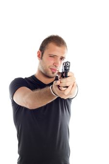 Guy With Gun Stock Photo