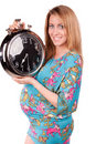 Free Portrait Of Happy Pregnant Woman With Clock Royalty Free Stock Image - 21077176