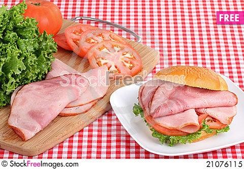 Free Ham And Tomato Sandwich Royalty Free Stock Photo - 21076115